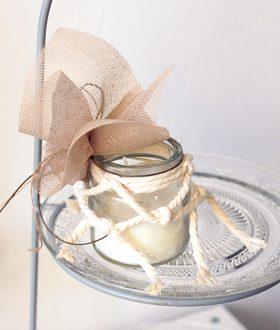 Μπομπονιέρα γάμου κερί μακραμέ