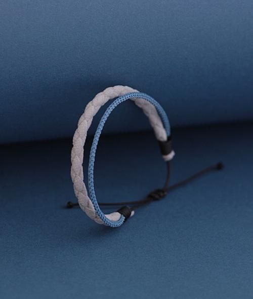 Ανδρικό βραχιόλι διπλό γκρι μπλε