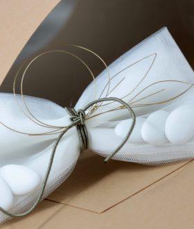 Μπομπονιέρα γάμου φύλλα ελιάς διακοσμητικό