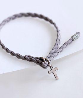 Μαρτυρικό βραχιόλι πλεξούδα λεπτός σταυρός